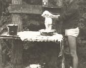 "Vintage Snapshot ""Washing The Dog"" Handsome Man Speedo Puppy Dog Bath Rinso Laundry Detergent Soap Suds Found Vernacular Photo"
