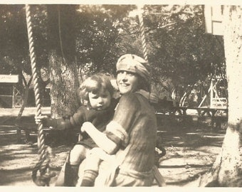 "Vintage Snapshot ""Play Date"" Flapper Babysitter Au Pair Playground Wooden Swing Ice Cream Sign Found Vernacular Photo"