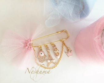 Unique Baby Girl Gift Baby Evil Eye Pin Girl Baby Keepsake Hamsa Pin Baby Pin Hijab Pin Stroller Pin Jewish Newborn Baby Shower Gift
