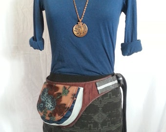 Blue and Maroon Flower fabric utility belt fanny pack