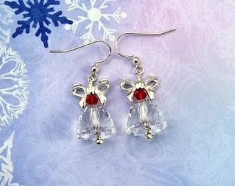 Christmas Bell Earrings, Crystal Bell Earrings, Christmas Earrings, Holiday Earrings, Swarovski Earrings, Dangle Earrings, Christmas Jewelry