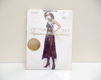 Vtg Victorias Secret Signature Gold Collection Panty Hose // Hosiery // Stockings // Nylons // Lingerie // Navy Silky Opaque Size Medium