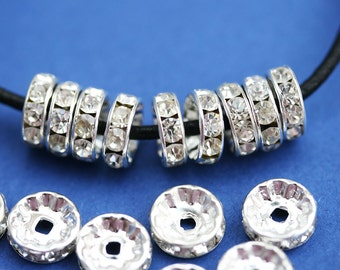 10mm Silver Rhinestone Rondelle Spacer Beads, Crystal Clear rondels, Nickel Free, Grade A, Straight Flange - 20pc - 0909