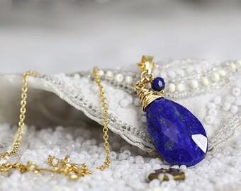 Lapis Lazuli Necklace - Blue Stone Necklace - Lapis Lazuli Pendant - Tear Drop Necklace - Blue Lapis Necklace - Blue Gold Pendant