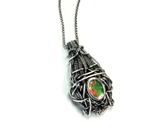 Futuristic Opal Wire Wrap Sterling Silver Necklace Pendant