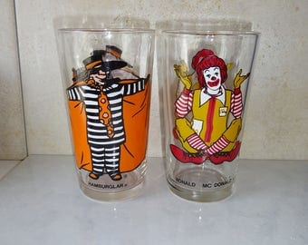 Vintage McDonalds Glasses Tumblers Hamburglar Ronald McDonald Set of 2 1970's
