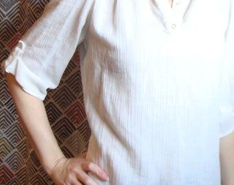 VINTAGE COTTON GAUZE float blouse boho hippie jones S