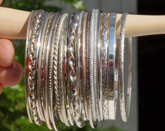 STACKING BANGLES - Mixed collection of stacking bangles - lovely mixture of more than 20 stacking bangles - mostly Indian stacking bangles
