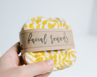 "Organic Facial Rounds + Organic Thread  Face Cloth - Make-up Remover - Facial Rounds - 4"" Face Wipes - Choose your quantity   Wheat Gold"