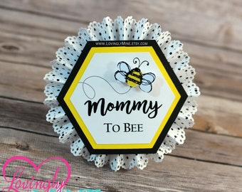 Name Tags/Corsages | Bumble Bee Yellow, Black & White Baby Shower Cardstock Corsages | Mommy To Bee | Daddy To Bee | Additional Names Avail