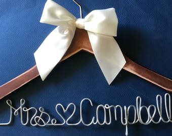 Wedding Hanger | Bridesmaid Gift | Shower Gift | Wedding Dress | Bridal Gown | Wedding Gown | Wire Name Hanger | Custom Hanger Bachelorette