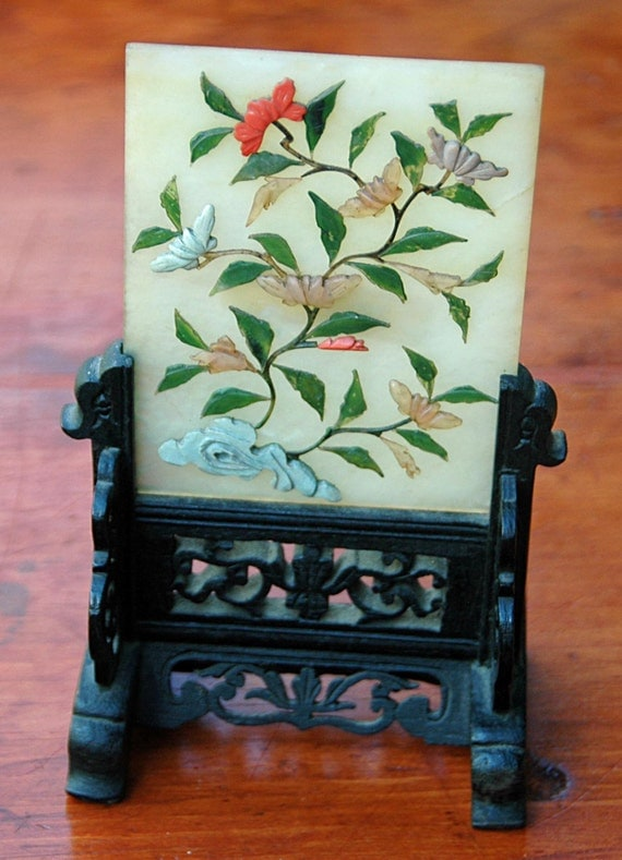 Antique Chinese JADE and Applied Hardstone Small TABLE SCREEN-Tablet, Floral Decoration, Fits Into Carved Wood Stand Excellent Condition