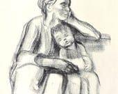 Kathe Kollwitz Offset Lithograph Mother with Sleeping Child - 1940s Art