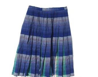 "Vintage Tartan Kilt - Blue and Green Tartan Pleated Skirt- Uniform - plaid- Waist 26"" small Size"