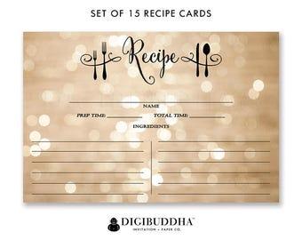Recipe Cards Gift Set of 15 Recipe Cards Pack of 15 Recipe Cards Gift Set Champagne Bokeh Black Utensils Kitchen Modern Recipe Cards - Mila