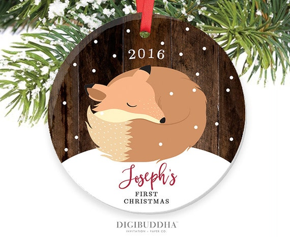 Baby's First Christmas Ornament Little Fox Ornament Personalized