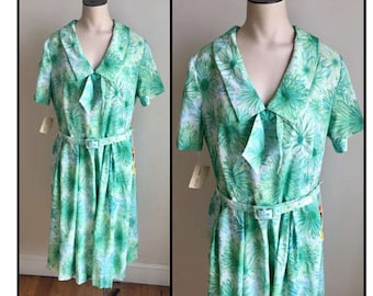 Vintage 1960s Misses' Green Blue Floral Short Sleeve Dress New Old Stock 10 12 14