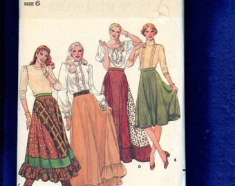 Vintage 1980's Butterick 4090 Flared  Skirts with Ruffled Hem Tier Size 6 UNCUT