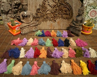 Cotton Tassels Set Of 10 Pieces Assorted Colors