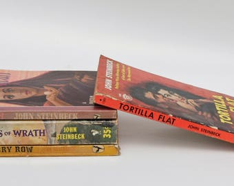 John Steinbeck Vintage Novel Set: Grapes of Wrath Cannery Row The Pearl Tortilla Flat 1947 - 1957 Film Tie-In Collectible Classics Great Fun