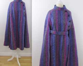 Candy Striped Wool Cape - Vintage 1970s Irish Wool Poncho Coat - One Size Fits Most by Hourihan