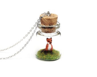 Fox Cub Necklace, Spring Baby Animal Gift, Bottle Necklace - miniature fox cub in a tiny terrarium necklace, 3cm tall, 16 inch chain