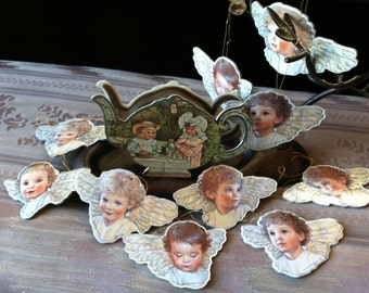 """Vintage 90's """"ANGEL HEAD ORNAMENTS""""  Lot of 10 Gold Sparkle Design with a Gift Holder Box"""