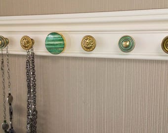 Jewelry Organizer YOU CHOOSE 5,7 or 9 KNOBS Necklace holder.This Wall hung jewelry hanger makes jewelry storage pretty/  closet organization