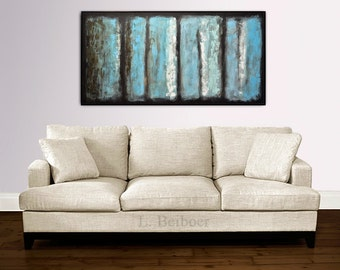 Large oil painting original textured contemporary palette knife abstract painting 24 x 48 artwork wall art modern abstract by L.Beiboer