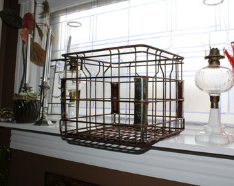 Large Vintage Wire Milk Crate Cream Land Industrial Farmhouse Decor