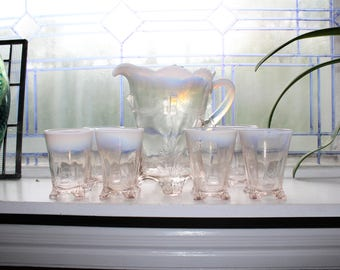 Antique EAPG Pitcher and 6 Tumblers Opalescent Swag With Brackets 1903