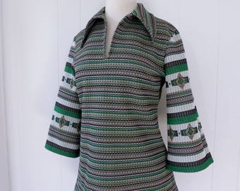 70's Woven Space Dye Shirt Hippie Psychedelic Pointed Collar Blouse Bell Sleeve Top L XL