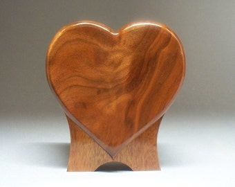 Figured Walnut  Pet Urn-Standing Heart Urn