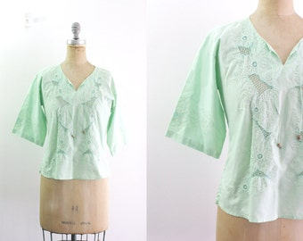 Vintage 1970s 70s Peasant Blouse Green Peasant Blouse Mint Green Shirt Cotton Peasant Shirt Embroidered Shirt 70s Tunic Small Medium