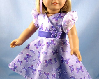 Dressy Dress fits American Girl Dolls - Purple satin and butterfly organza - 18 Inch Doll Clothes - Purple Doll Dress
