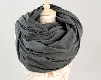 Oversized Infinity Scarf, Chunky Scarf Mens Scarf, Grey Scarf Cowl Scarf Large Scarf, Winter Scarf Circle Scarf, Hooded Scarf Gift for Her