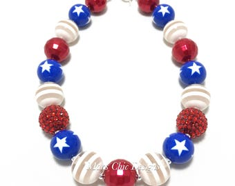 Toddler or Girls Fourth of July Chunky Necklace - Red, White and Blue Necklace - Patriotic Necklace - Star Chunky Necklace - 4th of July