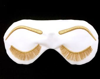 Holly Golightly sleep mask WHITE and METALLIC GOLD