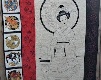 Modern Asian Inspired Handmade Quilted Art Quilt Wall Hanging Oriental Japanese Asian Geisha Girl Zen Lap Quilt