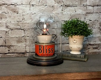 Table Lamp Upcycled Vintage Coffee Tin and Cup