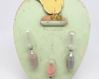 1930's German Chicken Egg Timer, Hand Painted Wood with Hour-Glass Timers
