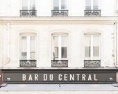 Paris Cafe Photograph, Bar du Central, Large Wall Art, French Kitchen Decor, Fine Art Travel Photograph