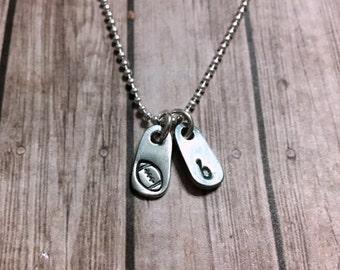 teeny tag football initial necklace - football necklace - initial necklace - tiny football necklace - simple necklace - tiny necklace