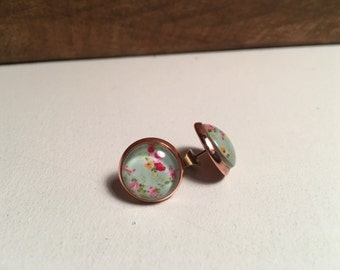 Aqua floral earring on rose gold setting- 12mm