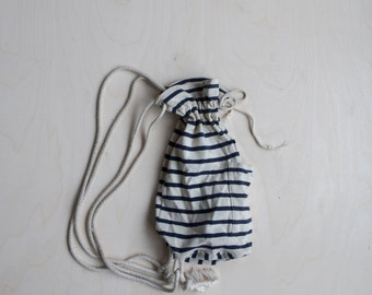 Vintage striped cotton backpack