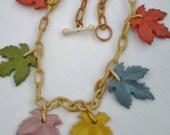 Vintage Art Deco Celluloid Maple Leaves Necklace