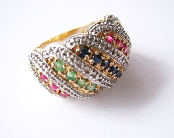 Ruby Emerald Sapphire Sterling Silver Ring
