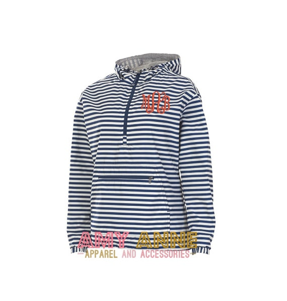 charles river monogrammed navy stripe pullover rain jacket by