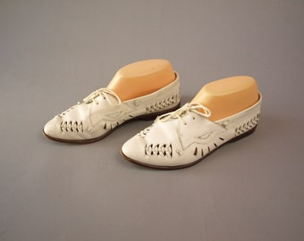 Vintage 80s white woven leather Oxford flats huaraches women's size 8