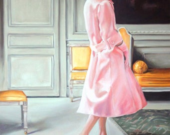 Original Oil Painting: Fashionable French woman in vintage Dior pink ensemble